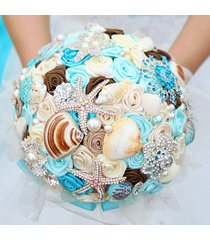 blue brooch bouquet, custom ocean theme wedding bouquet, starfish,shells bouquet