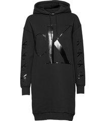 eco ck logo hoodie dress korte jurk zwart calvin klein jeans