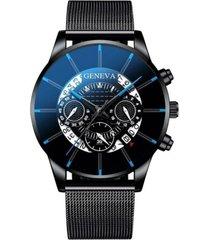 reloj pulso acero hombre cuarzo calendario 1753 negro azul