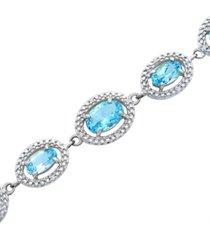blue topaz (7-3/8 ct. t.w.) & diamond (1/10 ct. t.w.) link bracelet in sterling silver