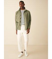 reiss holborn - striped crew neck t-shirt in white/ sage, mens, size xxl