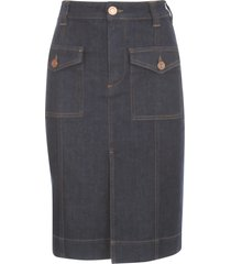 see by chloé indigo denim skirt