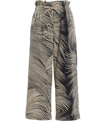 dondup iole leaf print two-tone cotton trousers