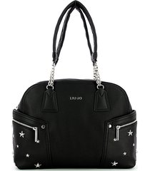 liu jo designer handbags, black studded stars bowler bag