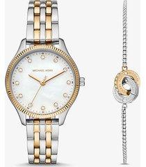 mk set orologio lexington bicolore e bracciale con maglie intrecciate - bicolore (argento) - michael kors