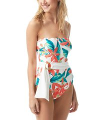 vince camuto printed belted strapless one-piece swimsuit women's swimsuit