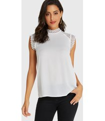 yoins white lace trim stand collar sleeveless top