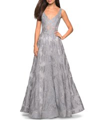 women's la femme lace a-line evening dress, size 12 - grey