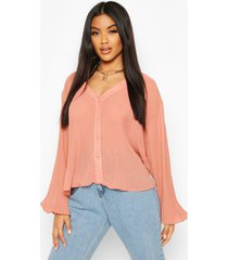 pleated button through blouse, rose
