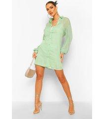 doorzichtige blouse jurk met voering, mint