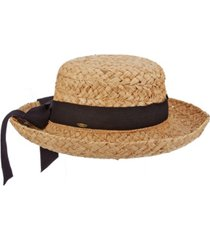 scala braided raffia upturn hat with bow band