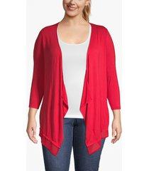 lane bryant women's chiffon-trim drape-front cardigan 26/28 ribbon red