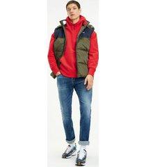 tommy hilfiger men's organic cotton badge hoodie flame scarlet - xxl
