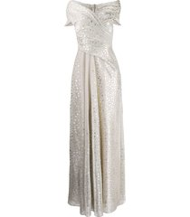 talbot runhof metallic voile long dress - gold
