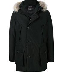 woolrich fur hooded padded coat - blue