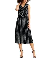 connected petite surplice striped jumpsuit