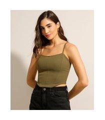 regata cropped corset alça fina decote redondo verde militar