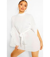 boho high neck wide shift dress, off white
