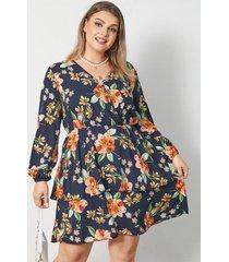 abrigo con estampado floral y cuello en v de talla grande diseño mini manga larga vestido