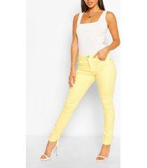 high waist stretch skinny jeans, lemon