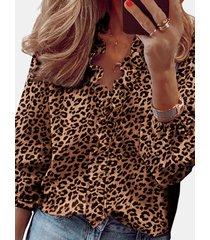 camicetta arricciata manica lunga stampata leopardata per donna