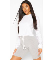 tie up front hoodie, white