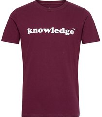 knowledge printed o-neck tee - gots t-shirts short-sleeved röd knowledge cotton apparel