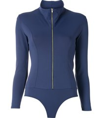 amir slama zipped long sleeves bodysuit - blue