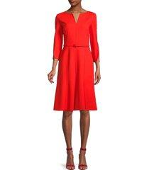 oscar de la renta women's virgin wool-blend belted dress - red - size 8