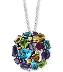 """effy multi-gemstone cluster ball 18"""" pendant necklace (6-1/4 ct. t.w.) in sterling silver & 18k gold"""
