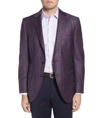 men's big & tall peter millar classic fit plaid wool sport coat, size 50l - burgundy