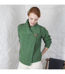 ladies one button aran cardigan green medium