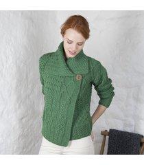 ladies one button aran cardigan green medium