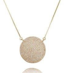 colar disco cravejado festa lua mia joias - semijoia folheada a ouro 18k - feminino