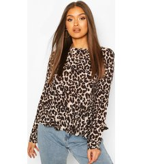 leopard frill hem smock top, brown