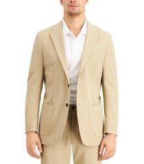 tommy hilfiger thtech men's modern fit stretch khaki suit jacket