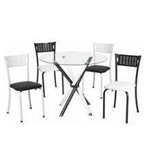 conjunto de mesa de jantar com tampo de vidro e 4 cadeiras carol corino preto e branco