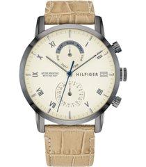 tommy hilfiger men's tan leather strap watch 44mm