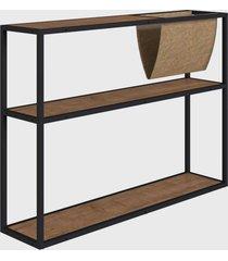 mesa lateral c/ revisteiro vermont/est. preta industrial artesano - bege - dafiti