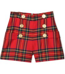 balmain tartan wool shorts