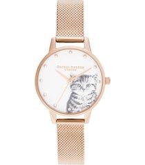 olivia burton women's illustrated animals rose gold-tone stainless steel mesh bracelet watch 30mm