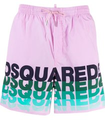 dsquared2 logo-print drawstring swim shorts - pink