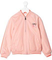bonpoint cherry-embellished bomber jacket - pink