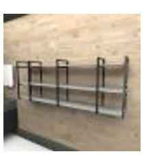 prateleira industrial banheiro aço cor preto 180x30x68cm (c)x(l)x(a) cor mdf cinza modelo ind34cb