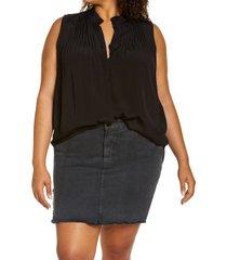 plus size women's treasure & bond sleeveless pleated top, size 1x - black