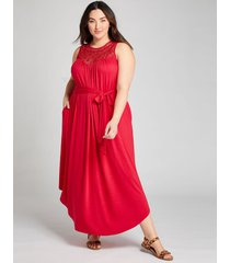 lane bryant women's crochet-yoke fit & flare maxi dress 14/16 lipstick red