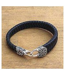 men's leather and sterling silver braided wristband bracelet, 'bun claw in black' (indonesia)