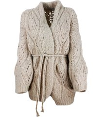 brunello cucinelli cardigan sweater with belt in knitted alpaca with loose weave