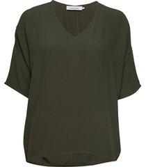 mains v-neck ss 5687 blouses short-sleeved grön samsøe & samsøe