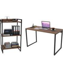 conjunto escritório estilo industrial mesa 120cm e estante 60cm 3 prateleiras prisma nogal - mpozena
